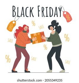 Two people character quarrel sale discount special offer. Black Friday vector cartoon illustration