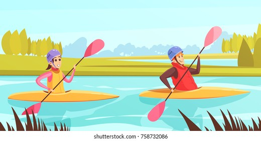 Two people doing water sports in rowing boats on river cartoon vector illustration