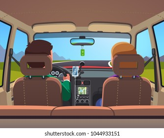 Two people family couple on vacation car road trip. Countryside travel ride. Car interior, people on front row, husband driving. Flat style isolated vector illustration