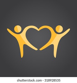 Two people form heart shape holding hands, 2d vector on dark background, eps 10