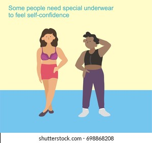 Two people, full-length, black and brown, wearing underwear tops: chest binder for trans men and bra for women. Some people need special underwear to feel self-confidence.