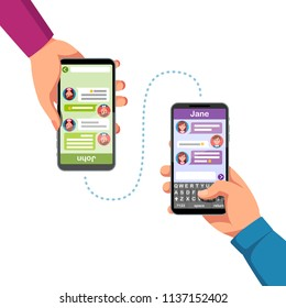 Two people hands holding phones, chatting or sending messages to each other. Hand typing new message using phone chat app. Modern mobile messaging communication. Flat vector isolated illustration