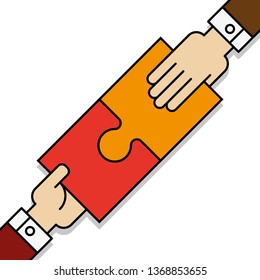 Two people hands putting puzzle 2 pieces. Teamwork business concept. Idea working together banner. Colaborative people design, vector puzzle illustration. Hand business man connecting puzzle elements