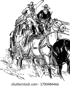 Two people in horse-drawn cart, vintage line drawing or engraving illustration