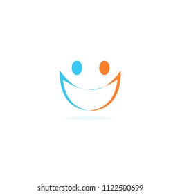 Two people linear silhouette abstract icon, face with smile. Vector logo template on white background.