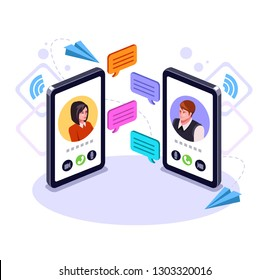 Two people man and woman character talking by smart phone. Online communication email message concept. Video call business chat. Vector flat graphic design cartoon isolated illustration