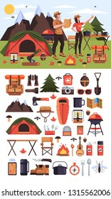 Two people man and woman tourists characters hiking and camping in forest woods. Travel tourism expedition icon sight symbol icons set. Vector flat graphic design isolated illustration concept