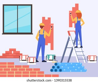 Two people professional workers characters painting walls. Home room house preparing concept. Vector design flat graphic cartoon illustration