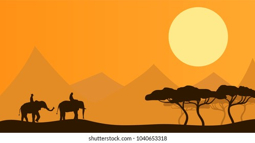 Two People Riding Elephants in African Savannah Flat Silhouette Landscape