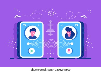 Two people send each other message from smartphone. Voice message or recording voice. Users with microphone talk to voice assistant in smartphone. Flat vector. Chat. Discuss. Videochat. Education