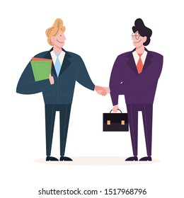 Two people shake hands as a result of agreement. Successful cooperation. Happy businessman. Isolated vector illustration in cartoon style
