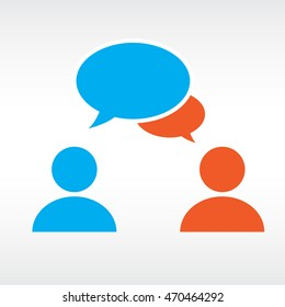 Two people share social words in media speech bubbles on a text background.