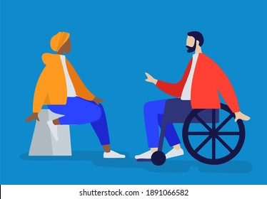 two people sitting chatting, one using a chair and one using a wheelchair