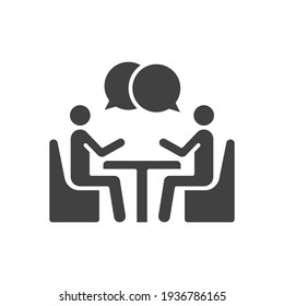 Two people at the table glyph icon. Simple solid style. Conversation, office talk, 2 man with bubble speech concept. Vector illustration isolated on white background. EPS 10.