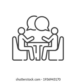 Two people at the table line icon. Simple outline style. Conversation, office talk, 2 man with bubble speech concept. Vector illustration isolated on white background. EPS 10.