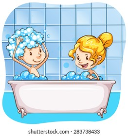 Two people taking bubble bath together
