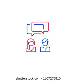 Two people talking, communication concept, man and woman speaking, tutoring and guidance, dialogue or negotiations, vector line illustration