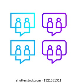 Two People talking Logo with Negative space and linear in Chat or Talk Team Group sign, Speech bubble shape Symbols, Community Partners and Social Media icon, Communication and Connection Concept