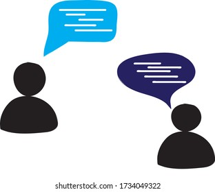 Two people talking wth eachother and sharing their thoughts.concept of virtual communication vector illustration