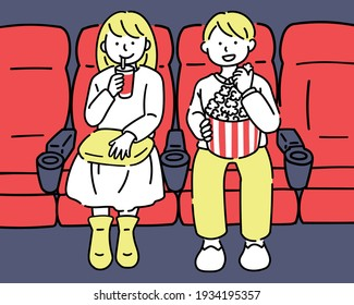 Two people watching a movie