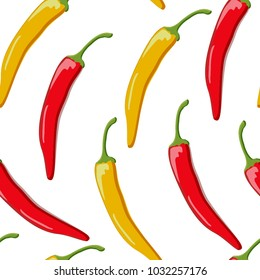 two peppers yellow and red seamless pattern on white background
