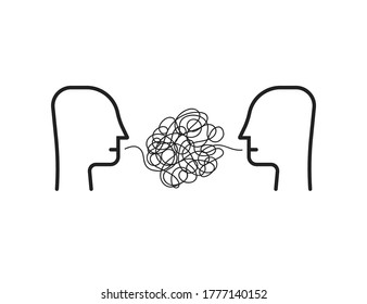 two person with difficult communion. concept of brawl and hard speaking by abuser and depression or stress or anxiety. outline simple trend modern graphic linear design isolated on white background