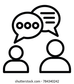 Two persons conversation or communication line icon