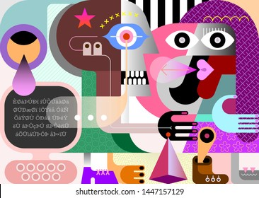 Two persons and personal computer modern abstract art vector illustration.