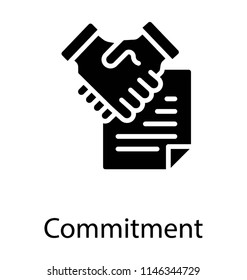 Two persons shaking hands along with a paper sheet, partnership deed icon