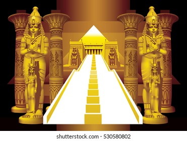 Two of Pharaoh and white stairs on a black background