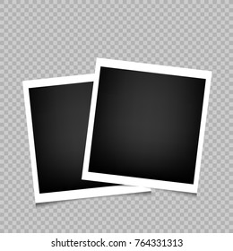Two photo frames with shadow on transparent background. Photograph empty blank template. Retro memory pictures