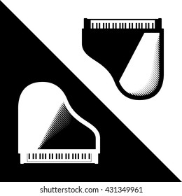 Two Piano Instruments in Yin Yang Composition - Black and White Composition - Pictogram Sign Silhouette Stencil Woodcut Style