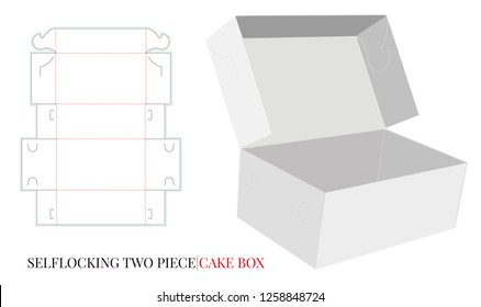 Two Pieces Cake Box Template, Vector with die cut / laser cut layers. Self Lock Cake Box, Delivery Cake Box. White, clear, blank, isolated Open Cake Box mock up on white background. Packaging Design