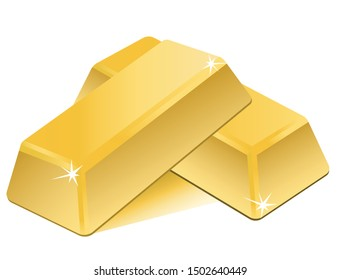 Two pieces of gold bars that shine very beautifully