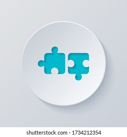 Two pieces of puzzle, creative teamwork, different solutions, logic game, simple icon. Cut circle with gray and blue layers. Paper style