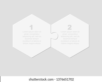 Two pieces puzzle hexagonal diagram. Hexagon business presentation infographic. 2 steps, parts, pieces of process diagram. Section compare banner. Jigsaw puzzle info graphic. Marketing strategy.