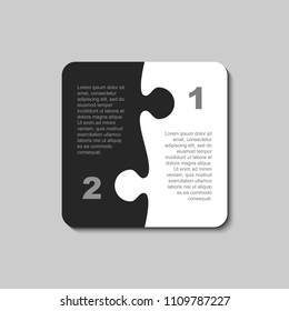 Two pieces puzzle squares diagram. Squares business presentation infographic. 2 steps, parts, pieces of process diagram. Section compare banner. Jigsaw puzzle info graphic. Marketing strategy.