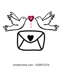 Two pigeons brought love a letter. The concept of receiving mail. Vector doodle outline illustration isolated on white background. Heart mail sign. Love letter line icon. Valentine day symbol. Print.