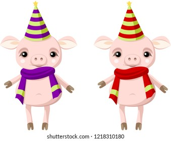 Two pigs in Christmas clothes. Symbol of  new year. Vector.