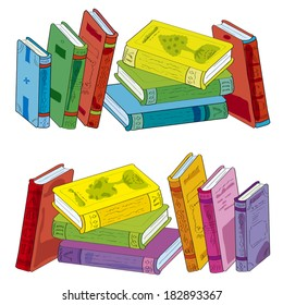 Two piles of books: one is represented mirror and in other colour scale. Illustration done in cartoon style. Set of piles of books -  Illustration.