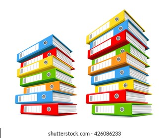 Two piles of colorful binders.  Concept of office supply, information classification. Vector illustration.