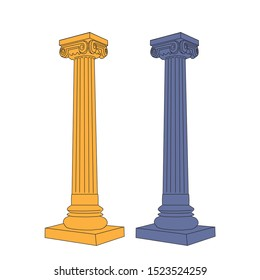 two pillars  vector illustration  white background