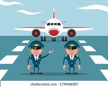 Two pilots near the plane