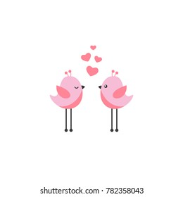 Two pink cartoon birds with pink hearts on white background.  Saint Valentine vector illustration.  Romantic greeting card. Love symbol.