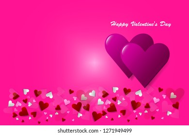 Two pink hearts are in the right side of the vector. Many small hearts are below them. All is on a trendy pink background.