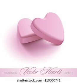 two pink realistic hearts, vector illustration