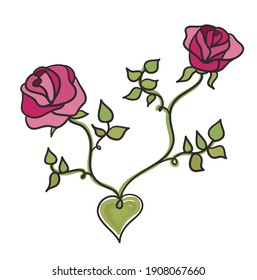 Two pink roses with a heart. Vector illustration