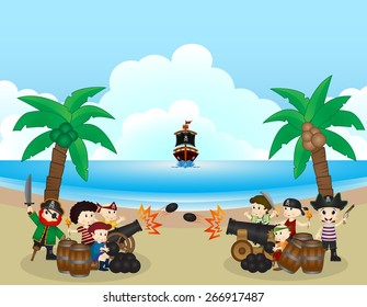 two pirate groups are fighting on the beach