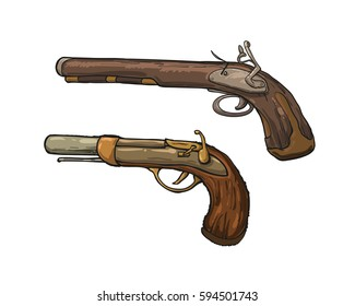 Two pirates guns, isolated on white background. Vector illustration