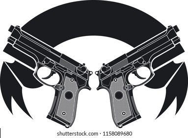 two pistols and banner